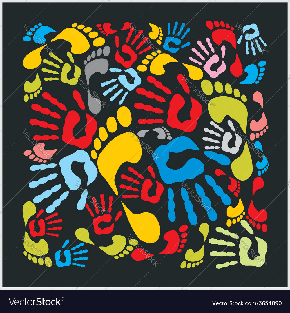 Mixed colour handprints and footprints - vector | Price: 1 Credit (USD $1)