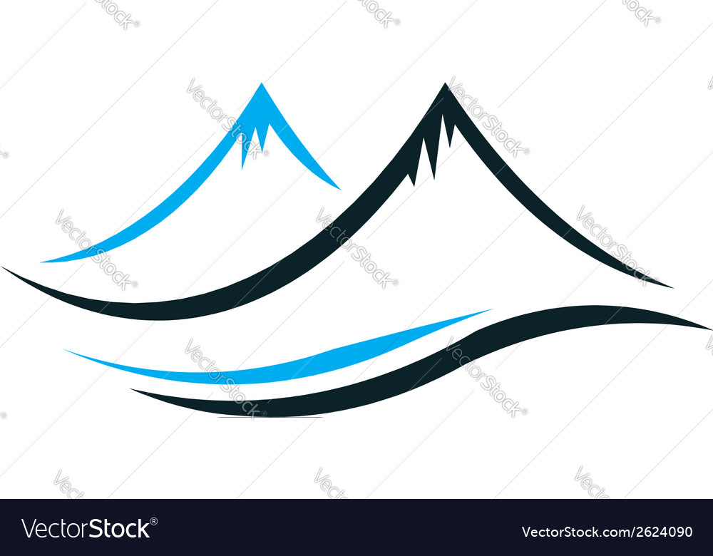 Mountains with steep peaks logo vector | Price: 1 Credit (USD $1)