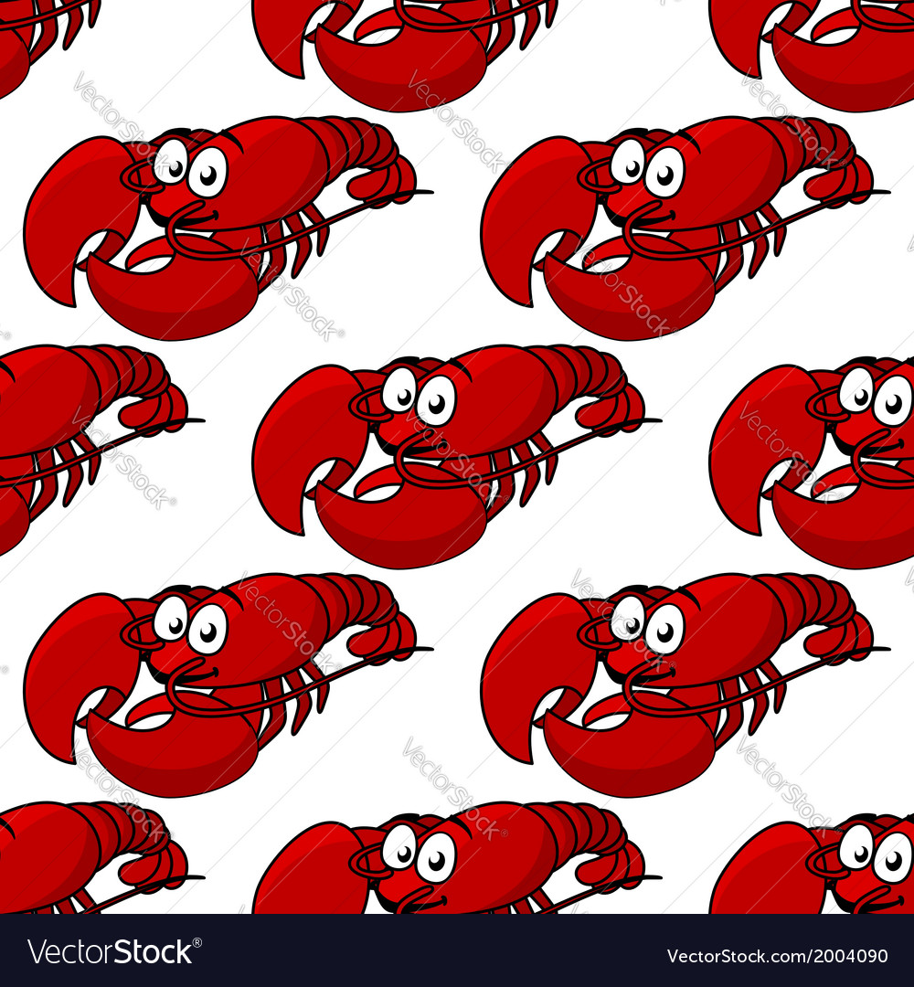 Seamless pattern of a fresh lobster vector | Price: 1 Credit (USD $1)