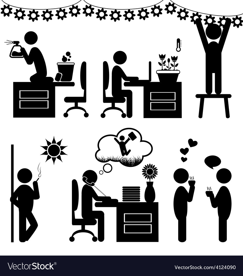 Set of flat office spring icons isolated on white vector   Price: 1 Credit (USD $1)