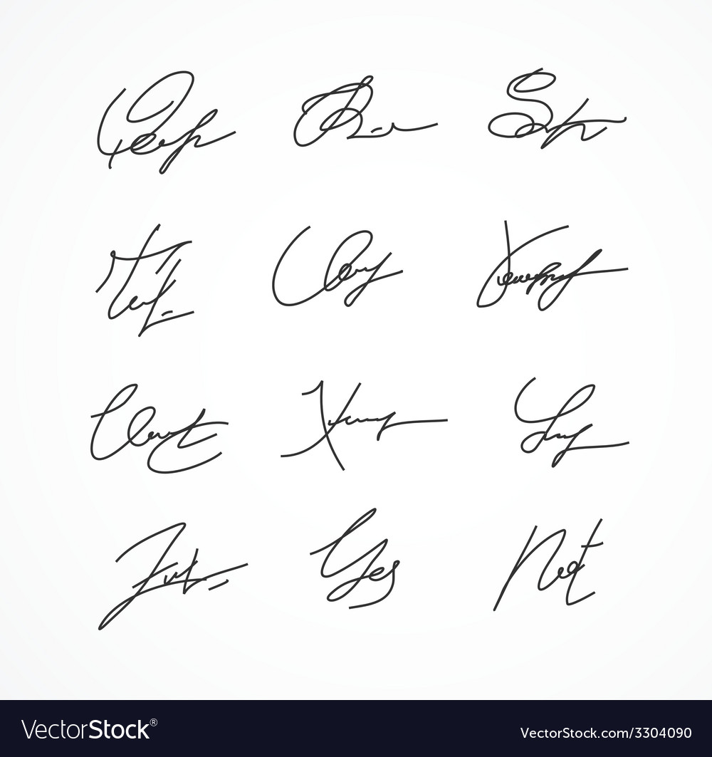 Signature fictitious autograph on white vector | Price: 1 Credit (USD $1)