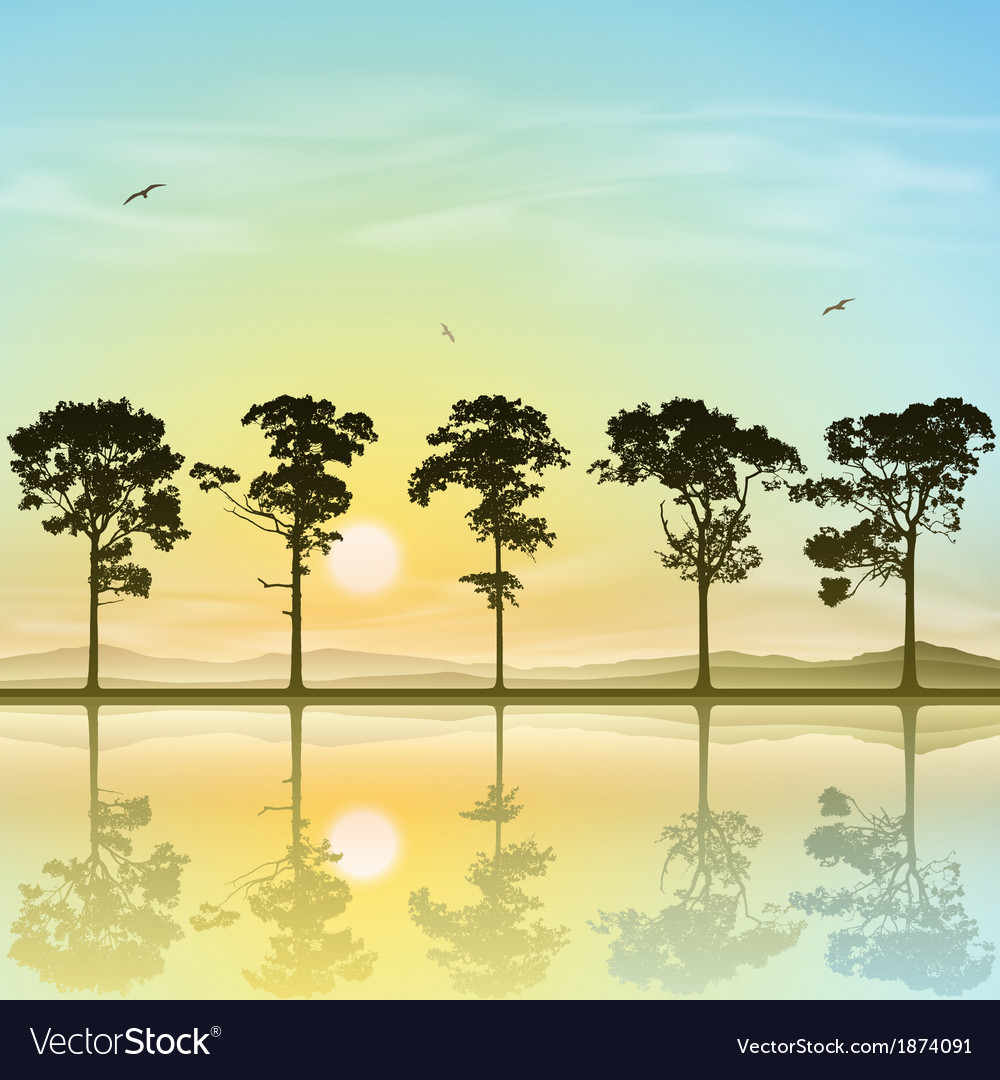 A line of trees vector | Price: 1 Credit (USD $1)