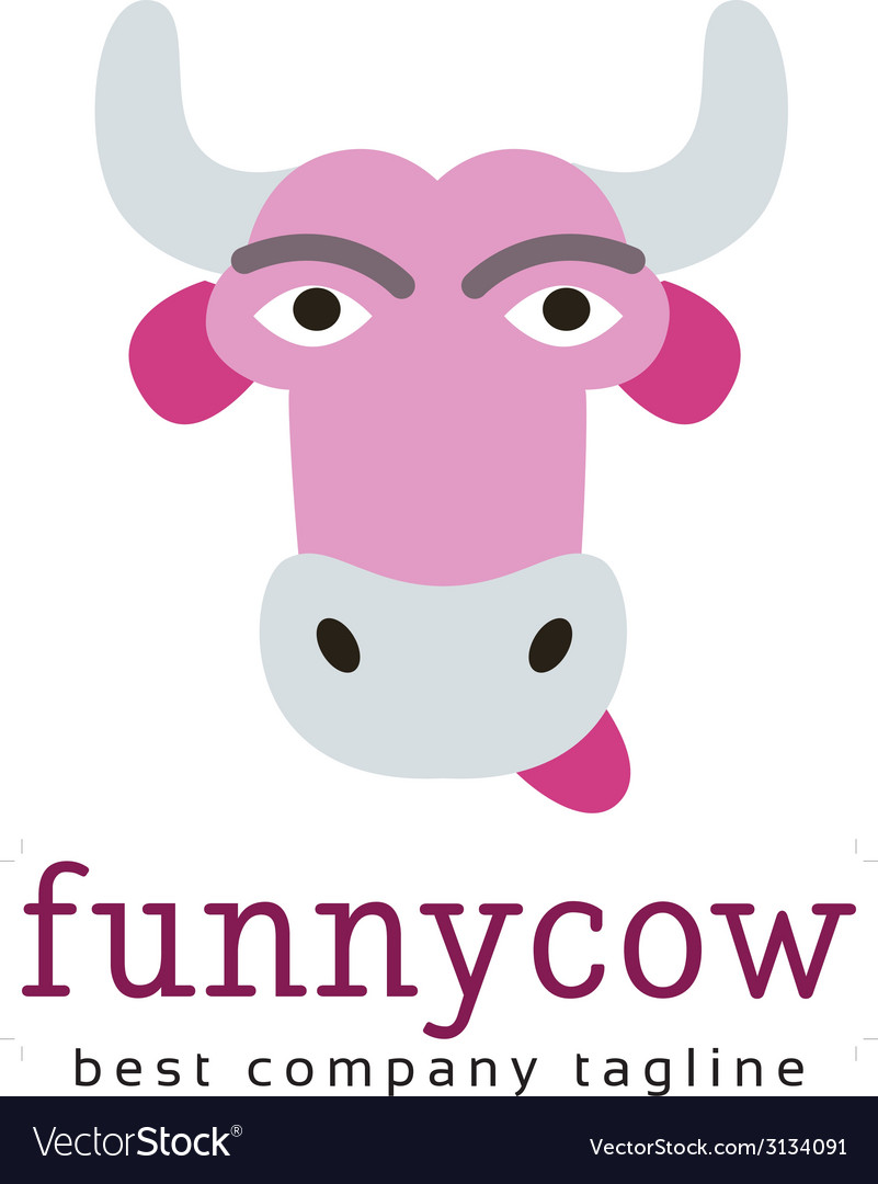 Abstract funny cow logo icon concept vector | Price: 1 Credit (USD $1)
