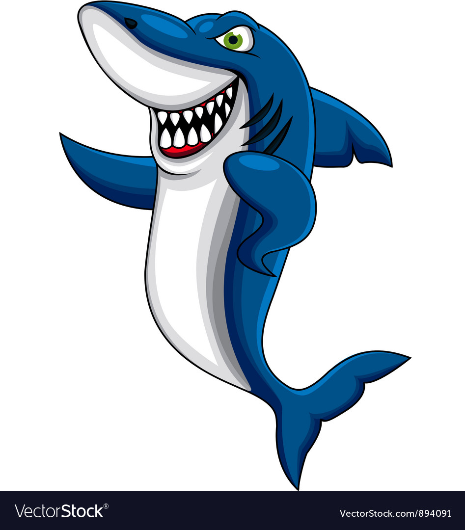 Angry shark cartoon vector | Price: 3 Credit (USD $3)