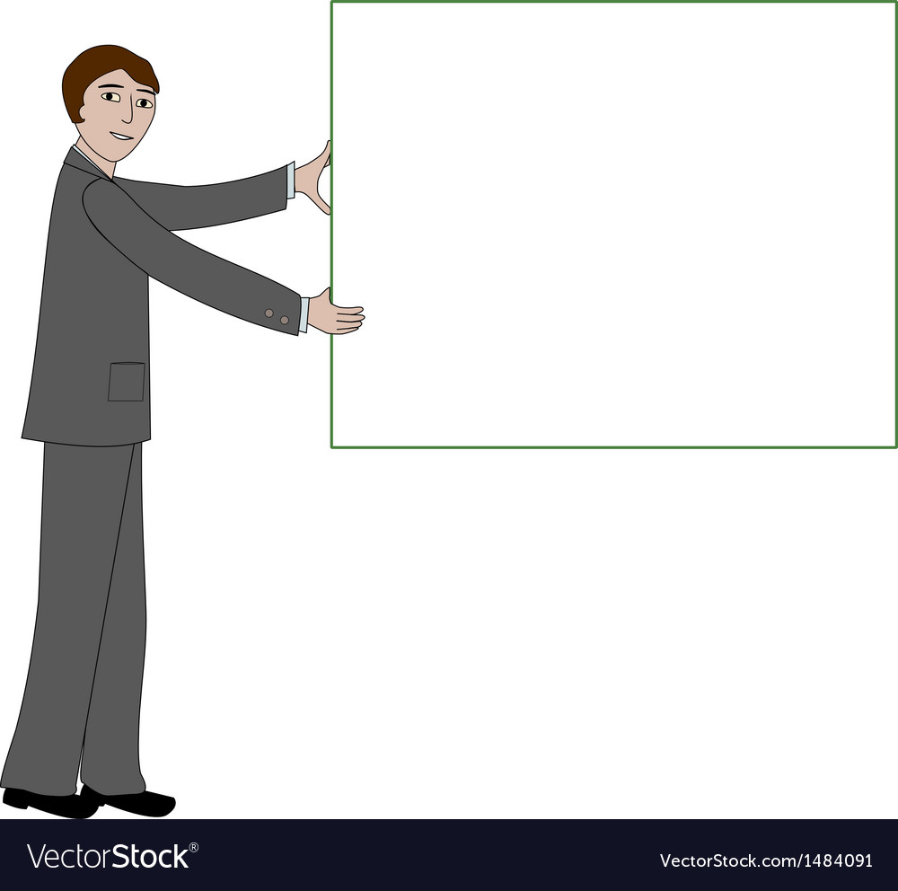 Business man with message board vector | Price: 1 Credit (USD $1)