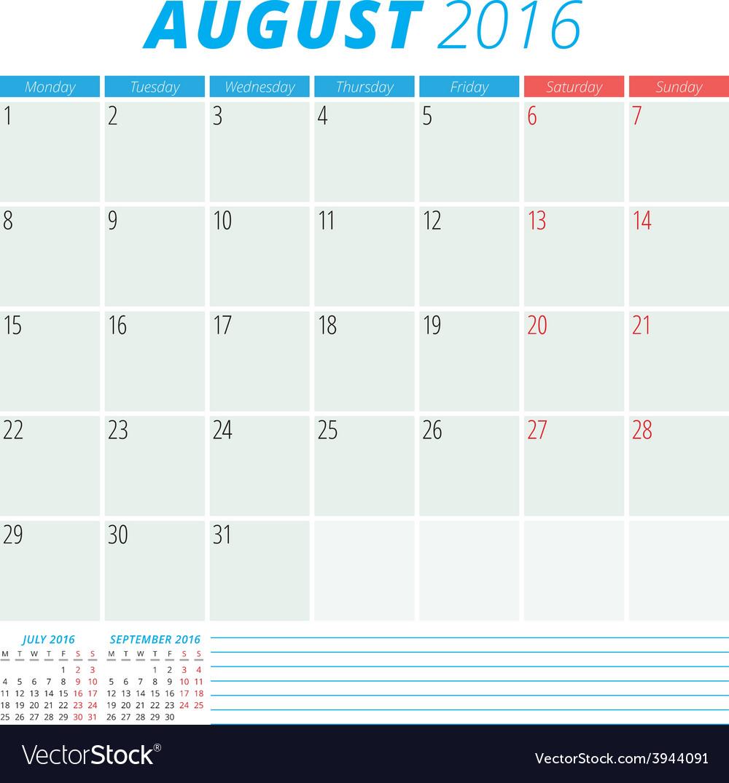 Calendar 2016 flat design template august week vector   Price: 1 Credit (USD $1)