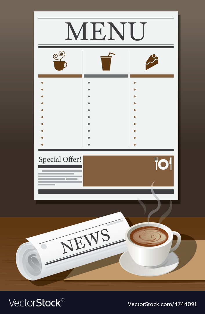 Coffee cup newspaper and menu vector | Price: 3 Credit (USD $3)