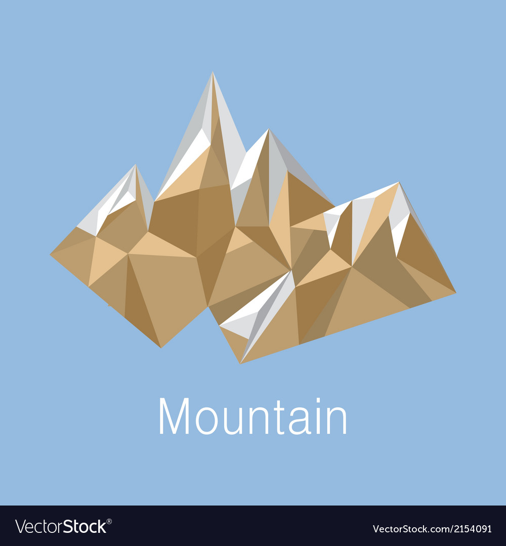 Cubic style mountain origami on blue background vector | Price: 1 Credit (USD $1)