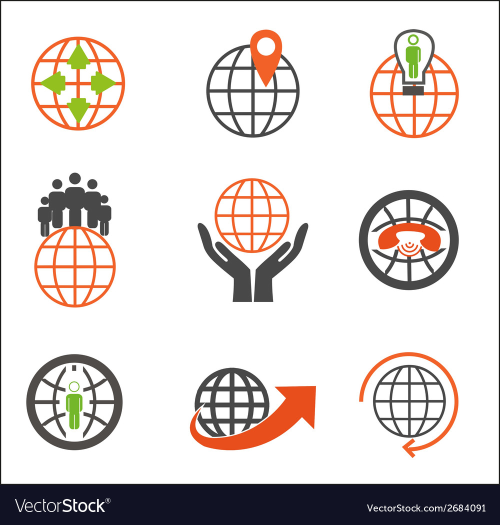 Earth icons set creative globe elements vector | Price: 1 Credit (USD $1)