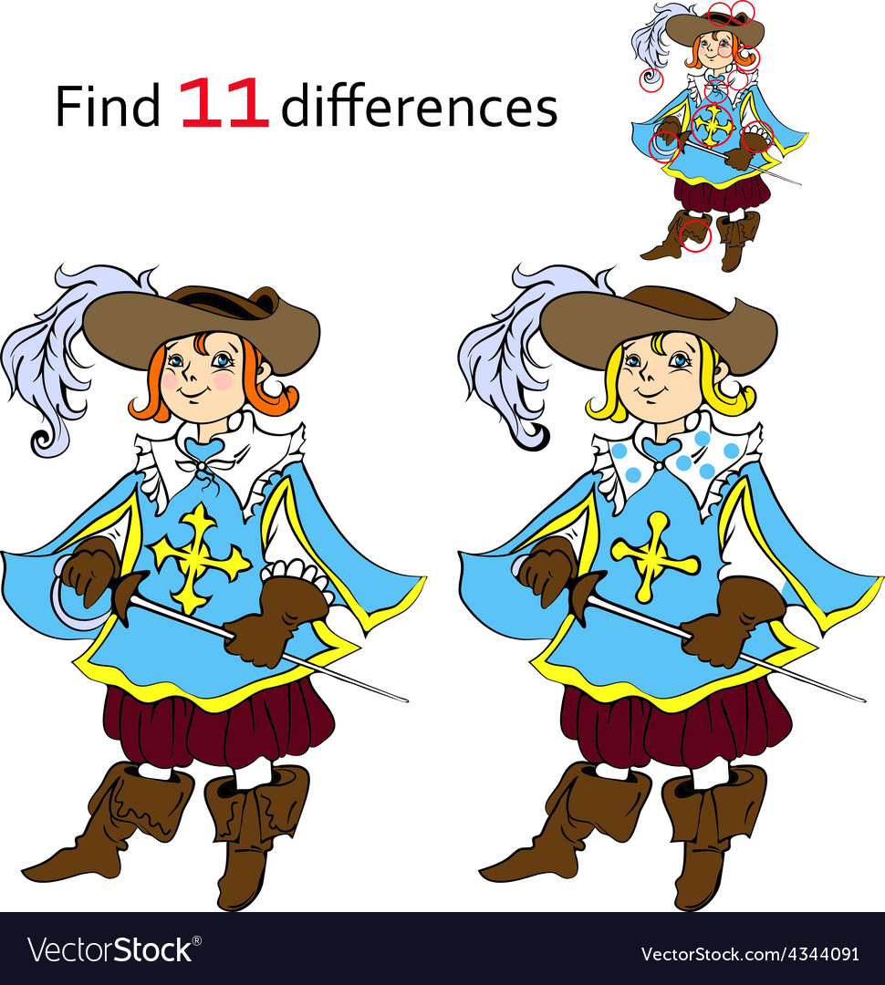 Find 11 differences musketeer vector | Price: 1 Credit (USD $1)