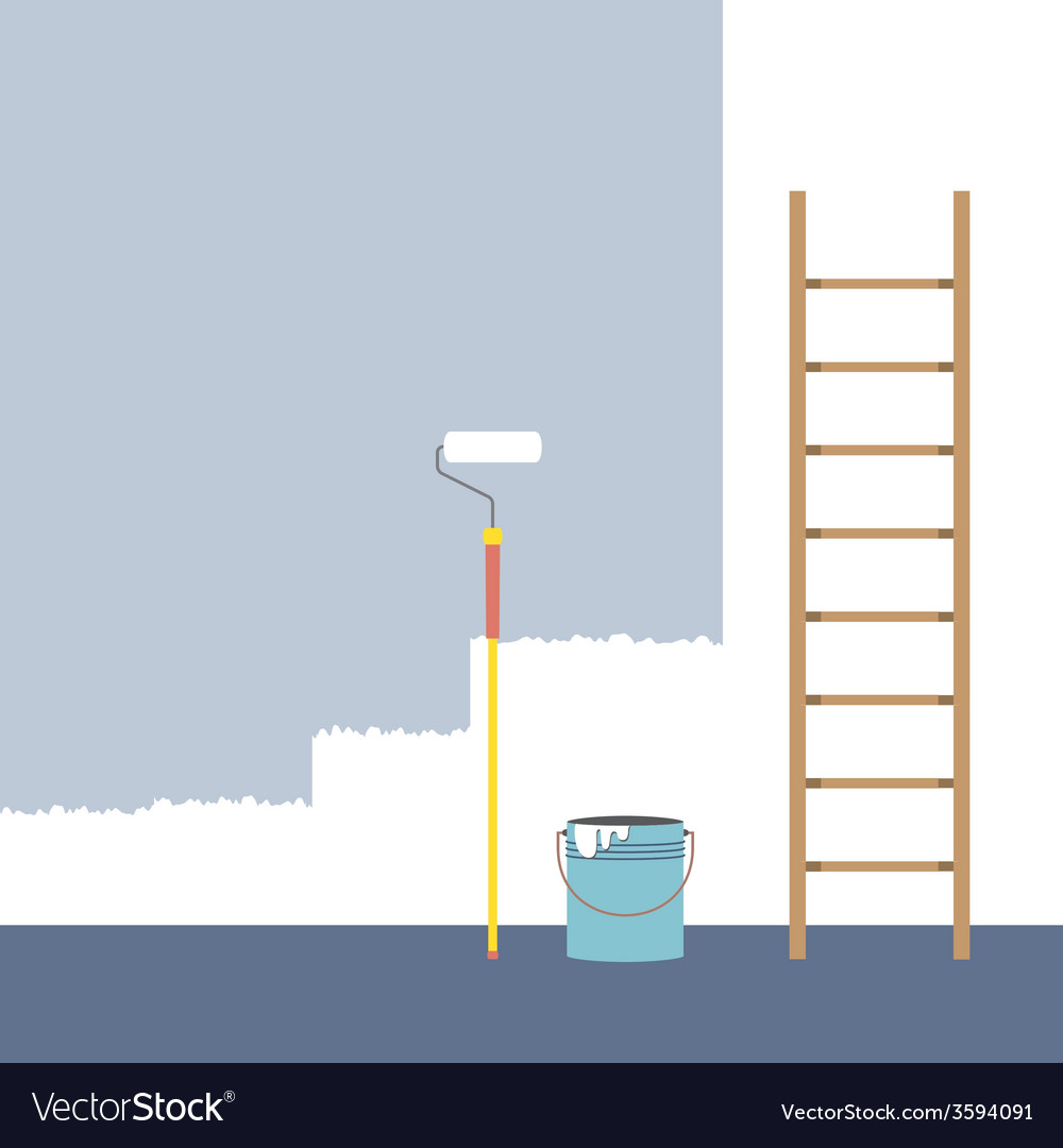 Ladder paint roller and paint bucket home vector | Price: 1 Credit (USD $1)