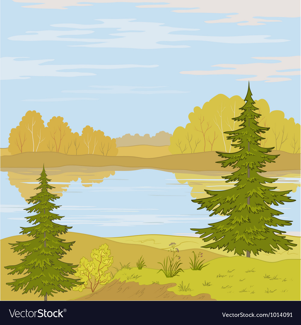 Landscape forest river vector | Price: 3 Credit (USD $3)