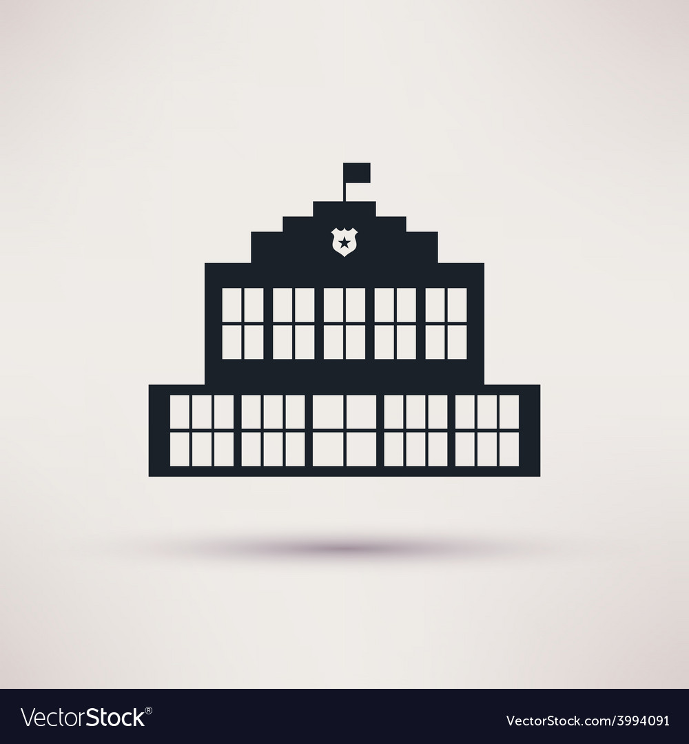 Police station the building is an icon flat vector | Price: 1 Credit (USD $1)