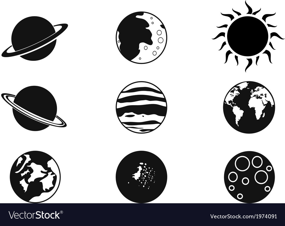 Solar planet icons vector | Price: 1 Credit (USD $1)