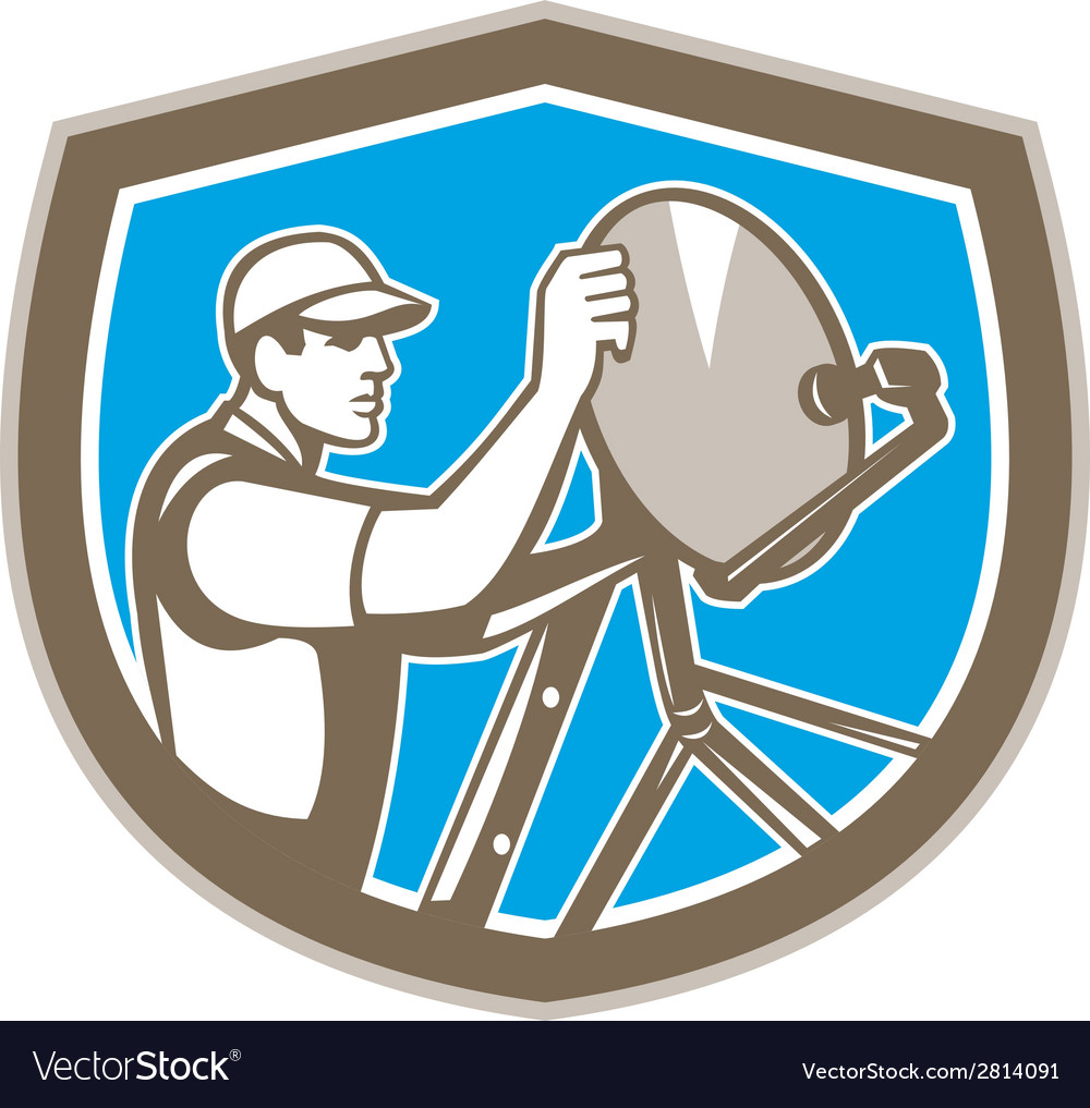 Tv satellite dish installer shield retro vector | Price: 1 Credit (USD $1)