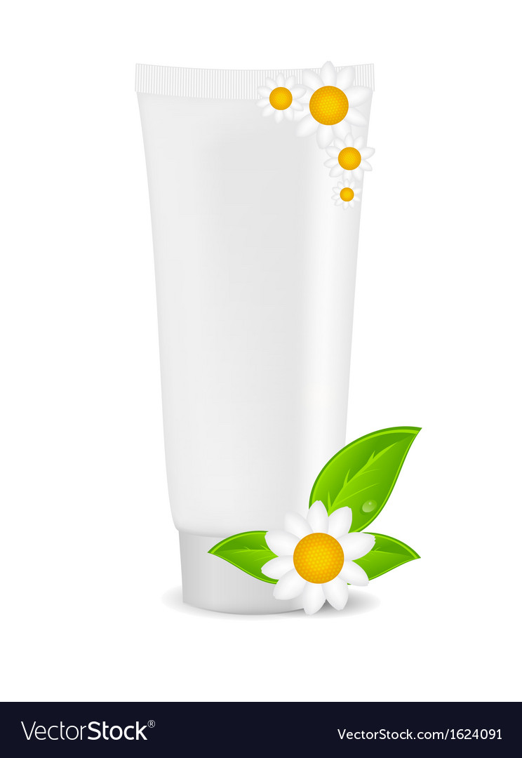 White cream tube with natural sign vector | Price: 1 Credit (USD $1)