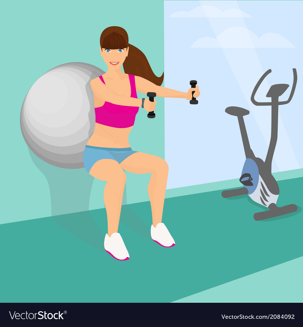 Beautiful woman squats with dumbbells using vector | Price: 1 Credit (USD $1)
