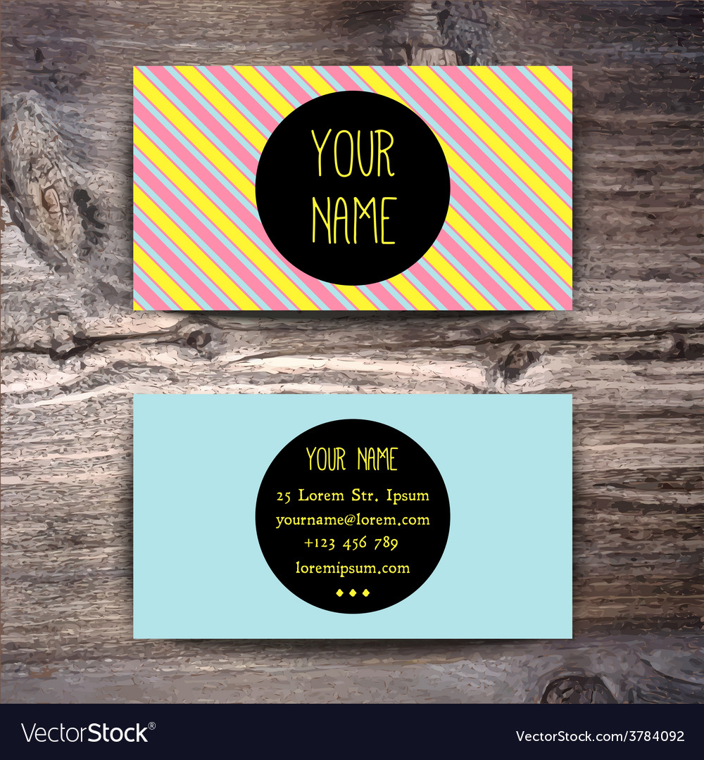 Business card template with creative retro pattern vector | Price: 1 Credit (USD $1)