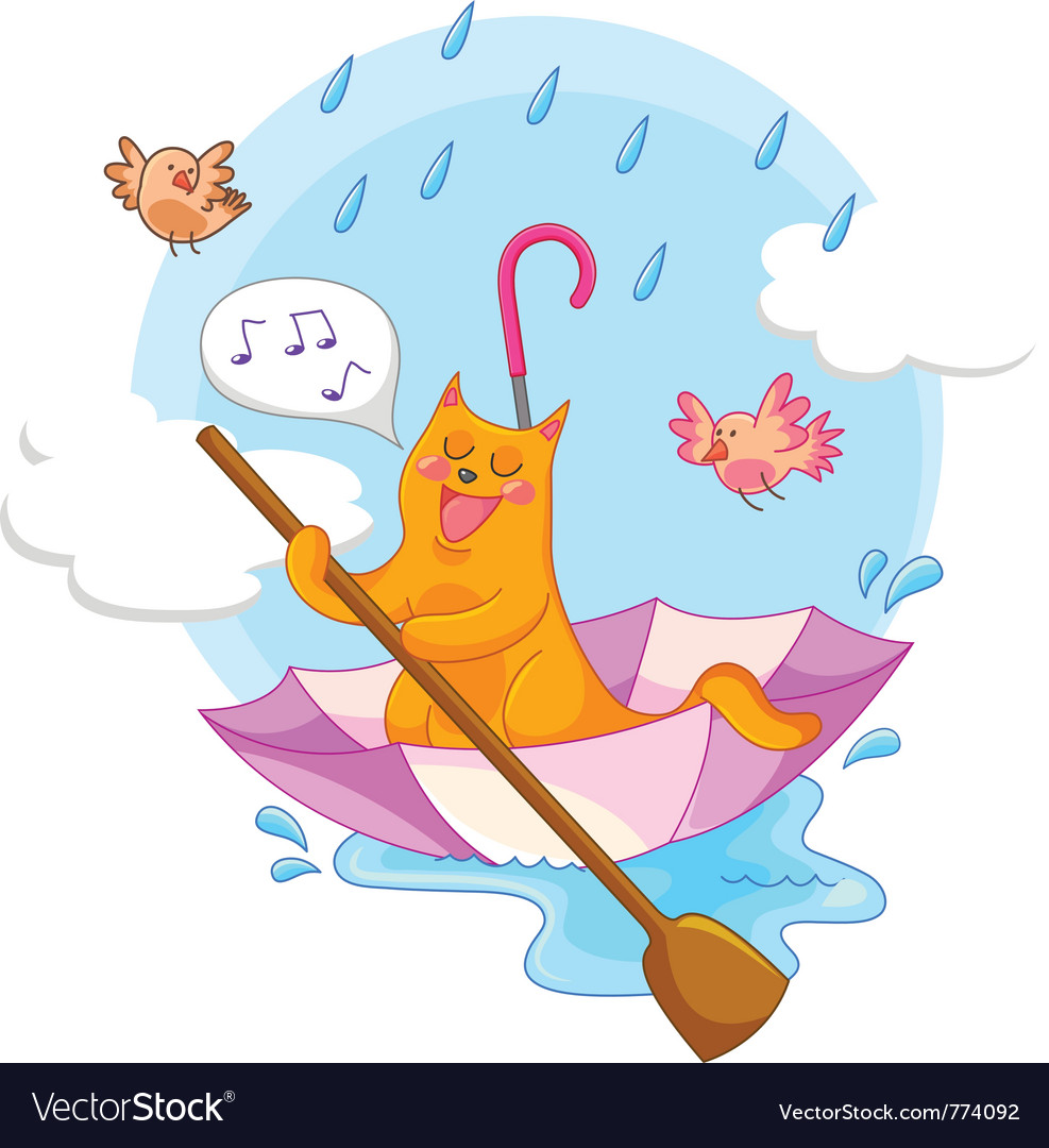 Cat in the rain vector | Price: 3 Credit (USD $3)