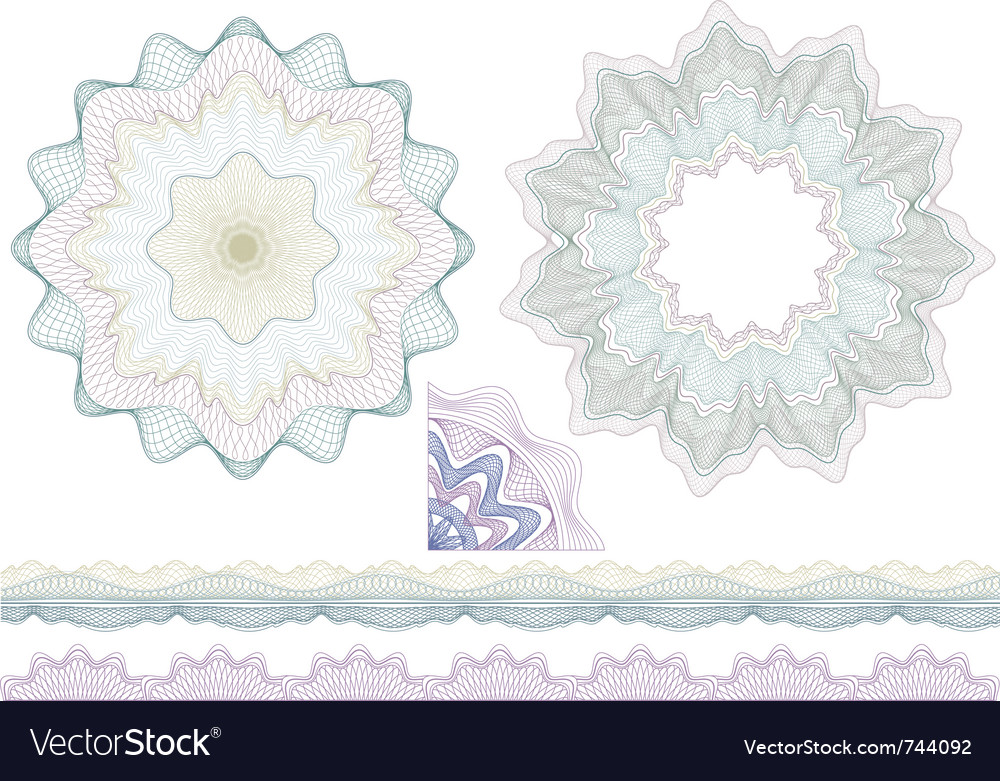 Classic guilloche borders and elenents for diploma vector | Price: 1 Credit (USD $1)