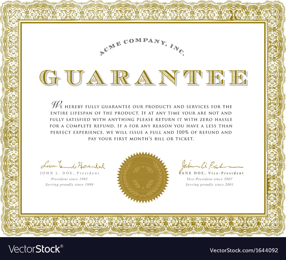 Guarantee certificate vector | Price: 1 Credit (USD $1)