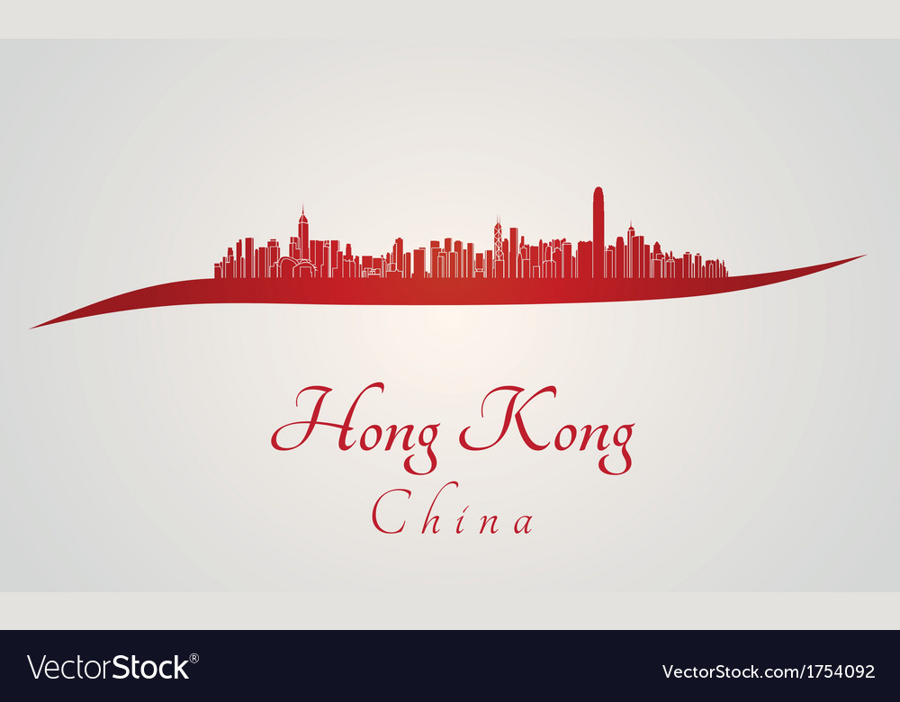 Hong kong skyline in red vector | Price: 1 Credit (USD $1)