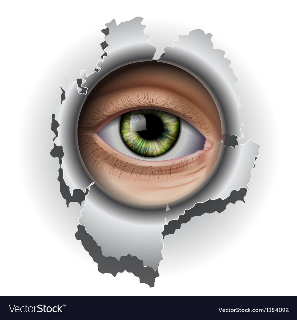 Interested eye looking in hole vector | Price: 3 Credit (USD $3)