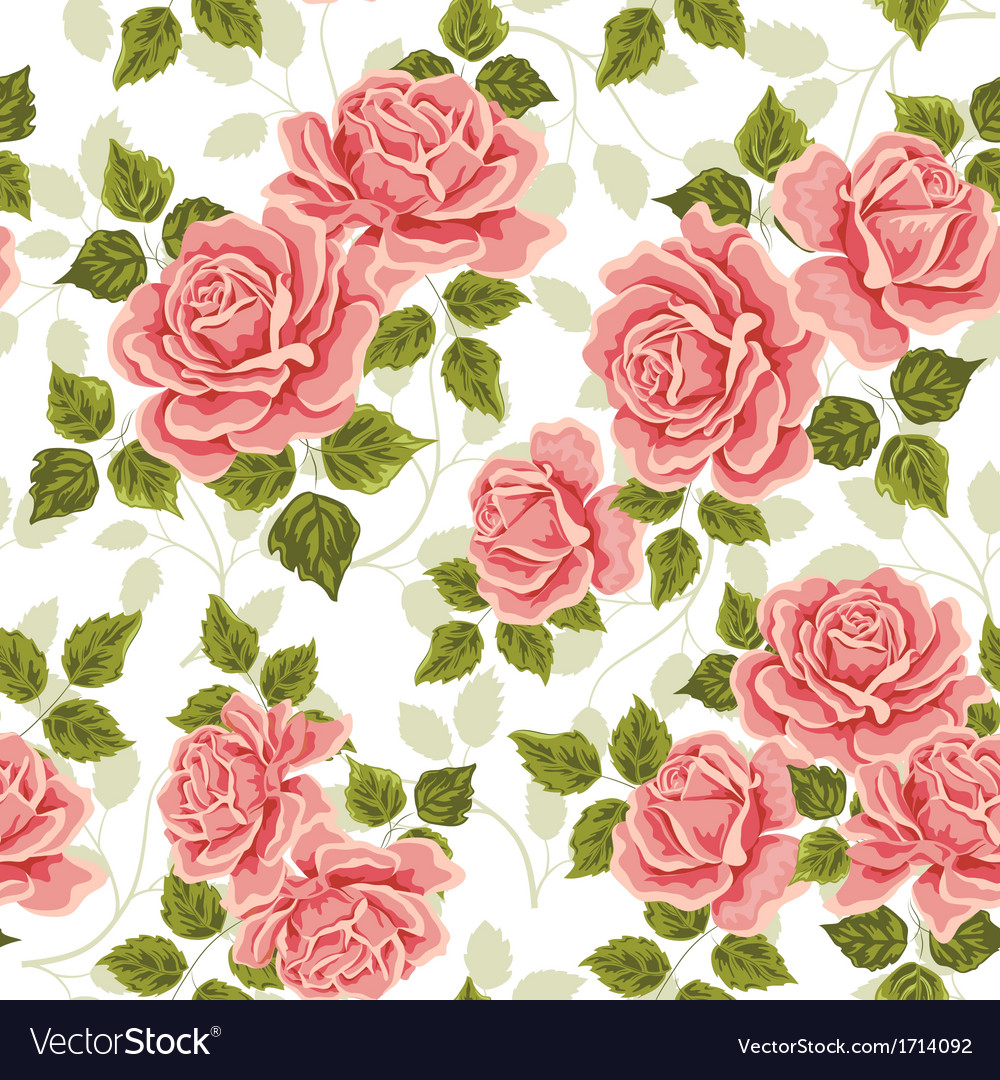 Pink vintage rose pattern seamless vector | Price: 1 Credit (USD $1)