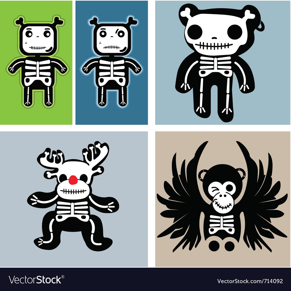Retro skulls vector | Price: 1 Credit (USD $1)