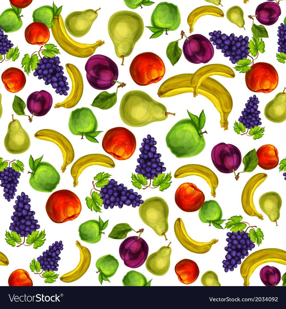 Seamless mixed fruits pattern background vector | Price: 1 Credit (USD $1)