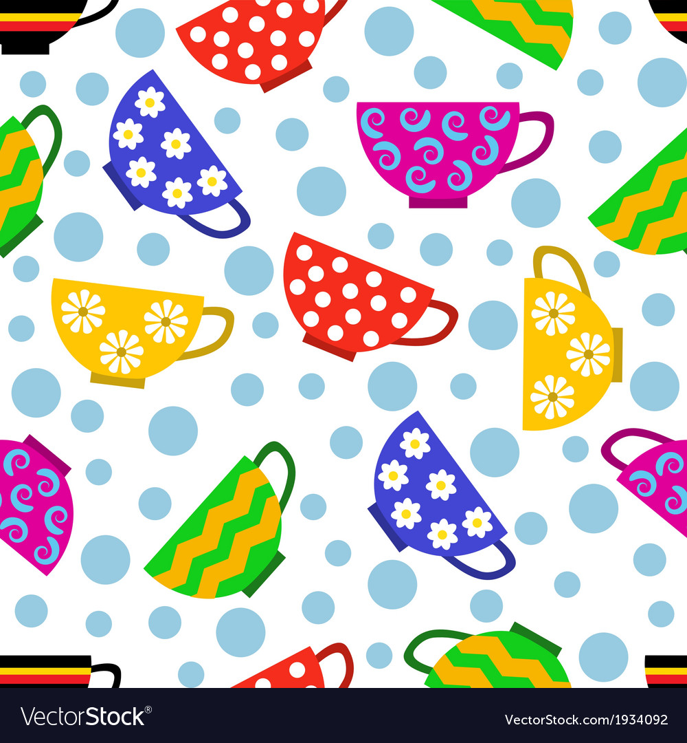 Seamless pattern with colorful cups vector | Price: 1 Credit (USD $1)