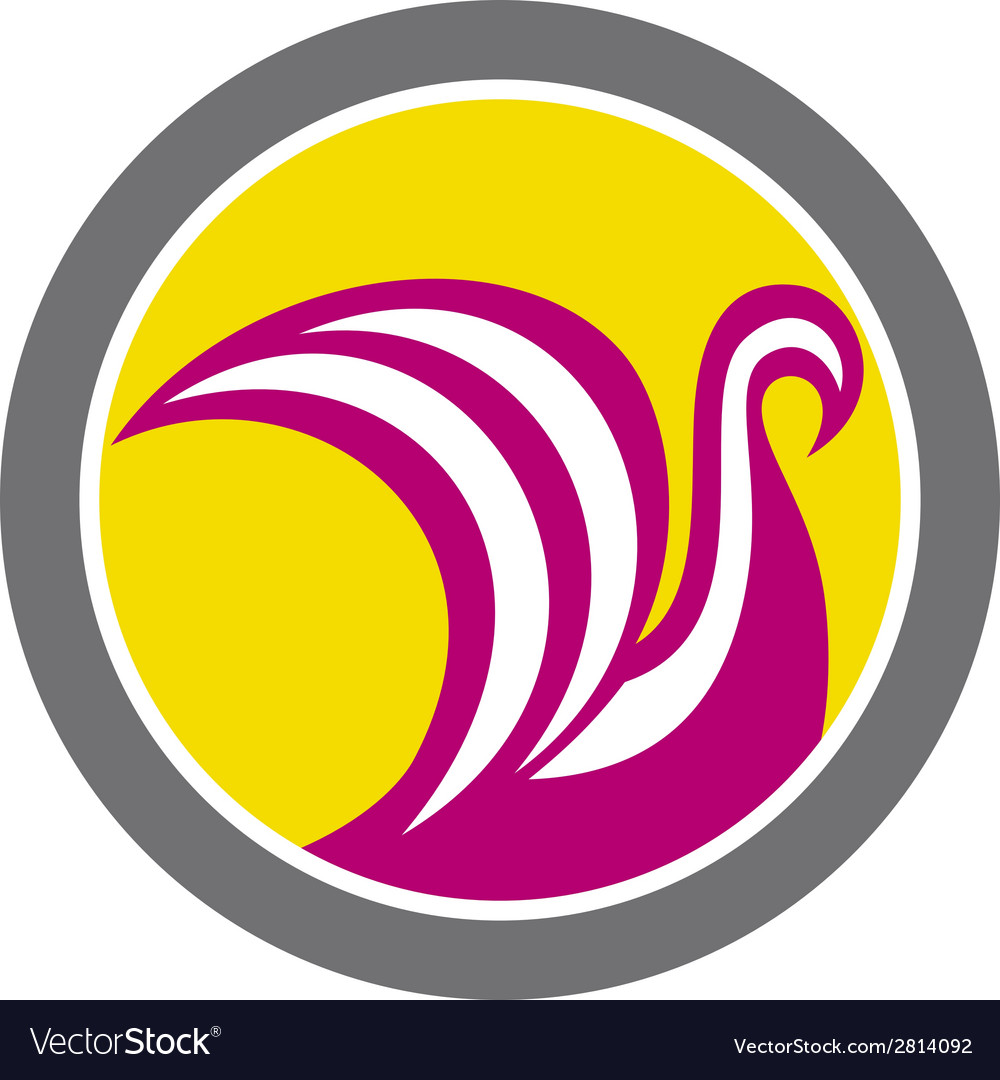 Swan viking ship circle retro vector | Price: 1 Credit (USD $1)