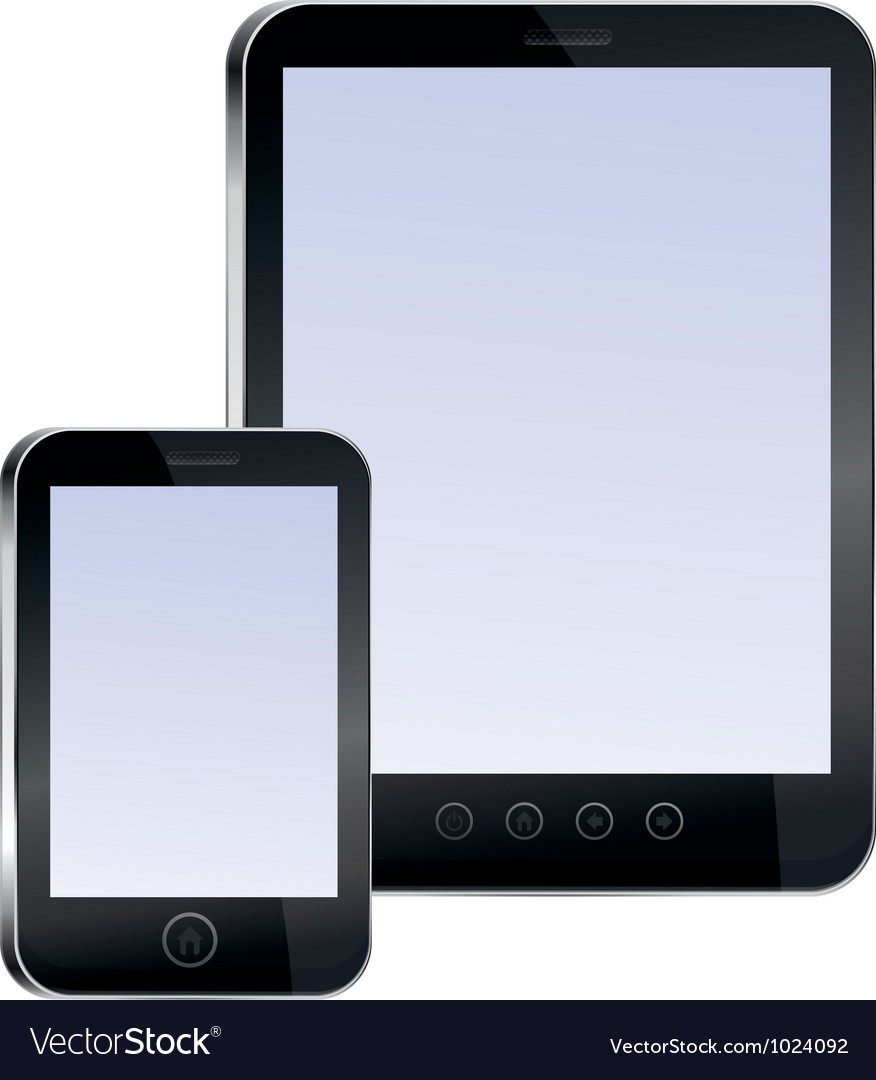 Tablet pc and mobile phone with empty screens vector | Price: 1 Credit (USD $1)