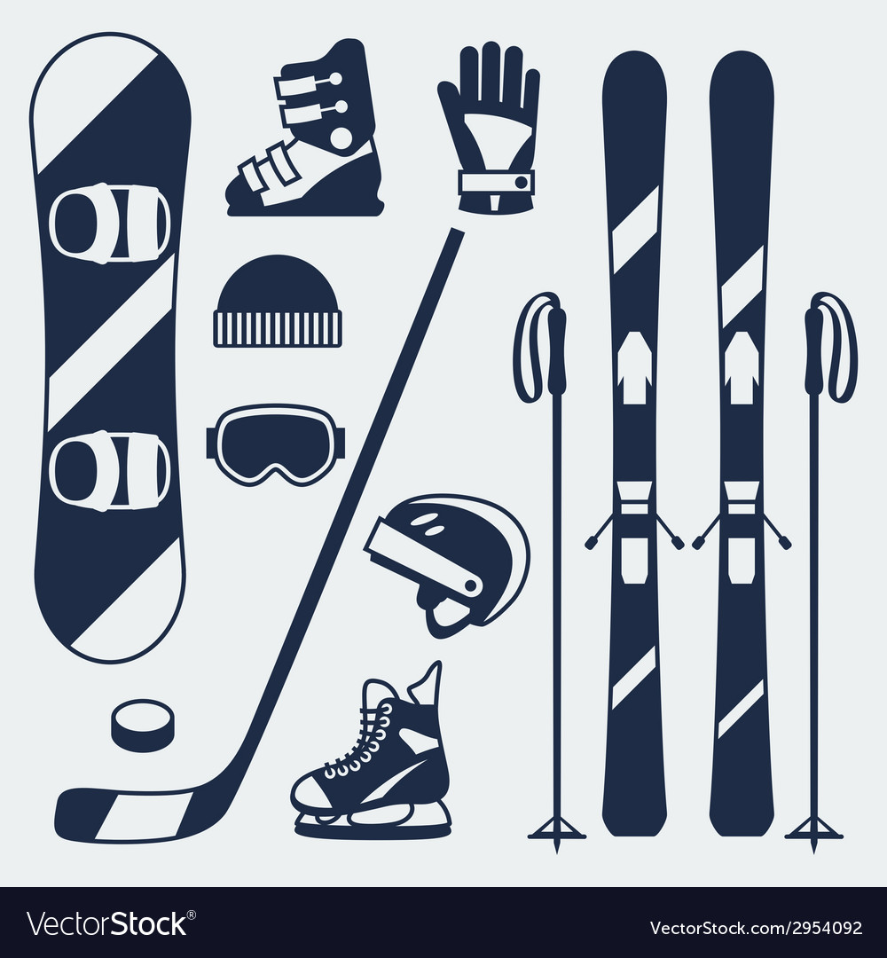 Winter sports equipment icons set in flat design vector | Price: 1 Credit (USD $1)