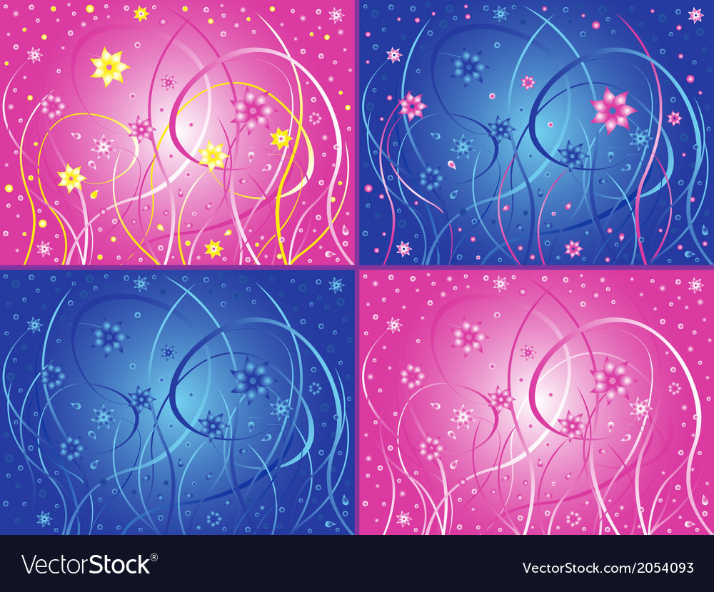 Abstract floral artwork in four different color vector | Price: 1 Credit (USD $1)
