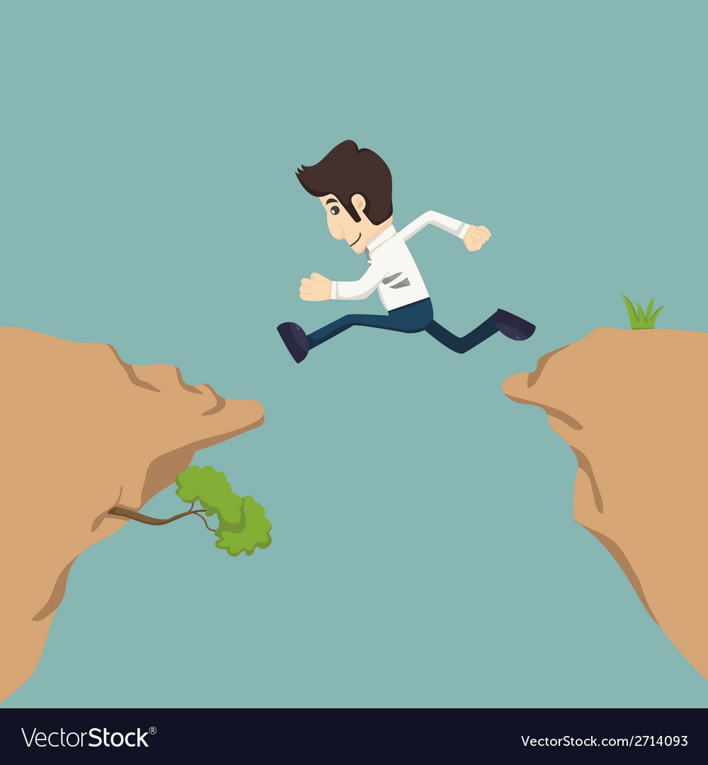 Businessman jumping over gap vector | Price: 1 Credit (USD $1)