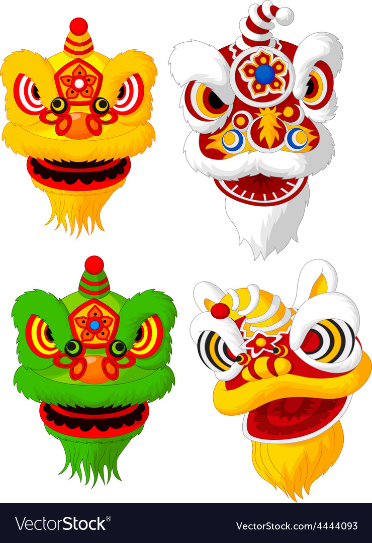Cartoon chinese lion head collection vector | Price: 1 Credit (USD $1)