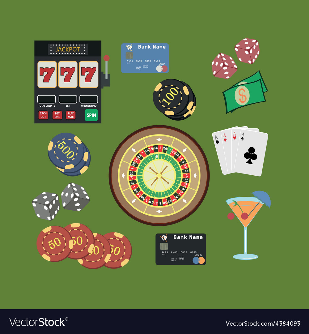 Casino flat icons set vector | Price: 1 Credit (USD $1)