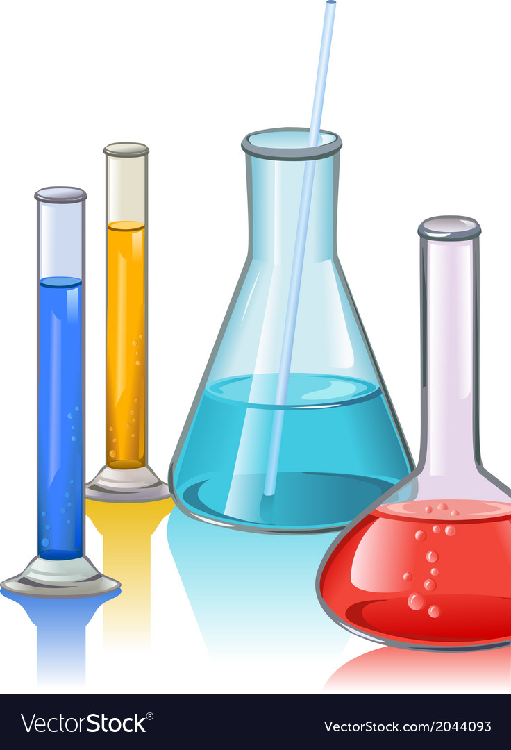 Colored laboratory flasks glassware template vector | Price: 1 Credit (USD $1)