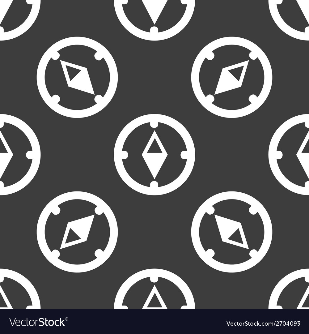 Compass web icon flat design seamless gray pattern vector | Price: 1 Credit (USD $1)