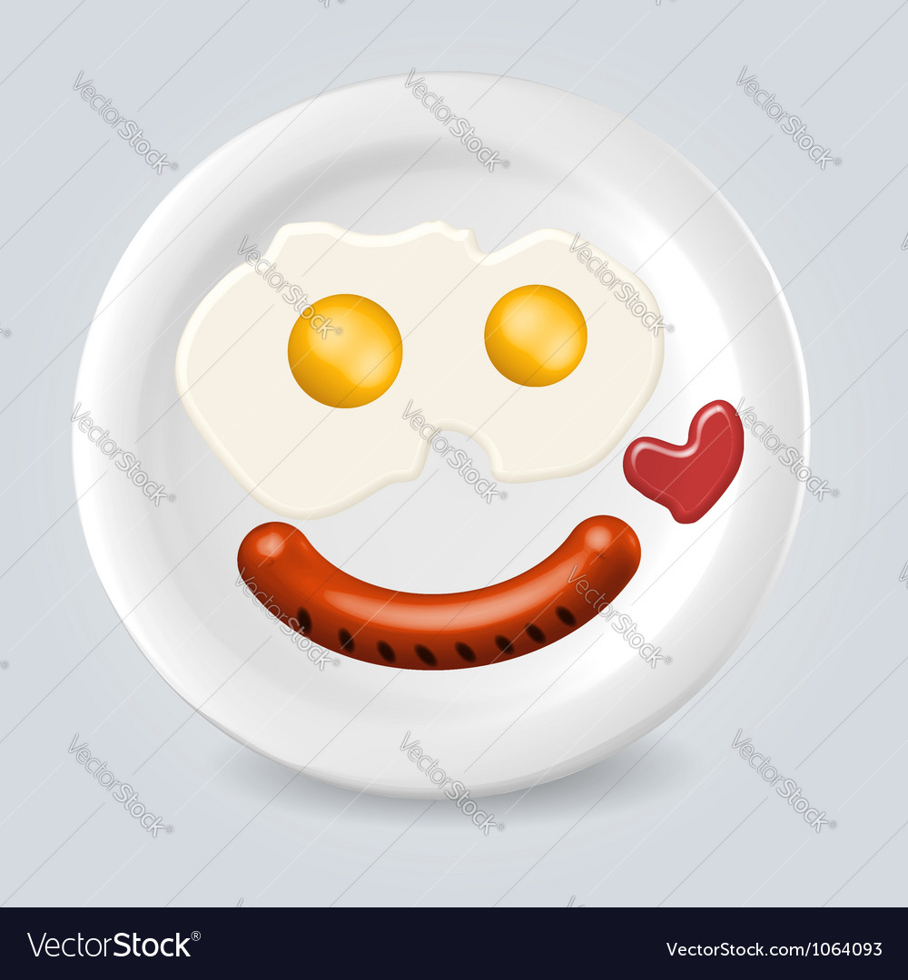 Food plate smile vector | Price: 1 Credit (USD $1)