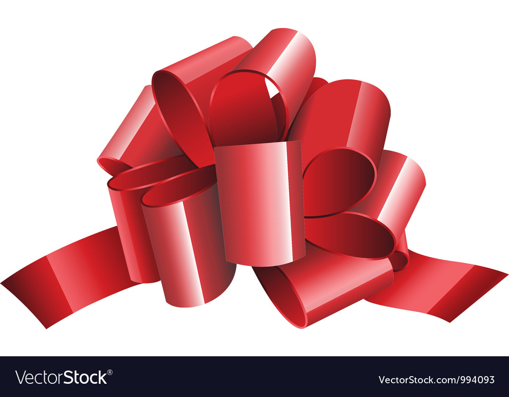 Gift red ribbon and bow isolated on white vector   Price: 1 Credit (USD $1)