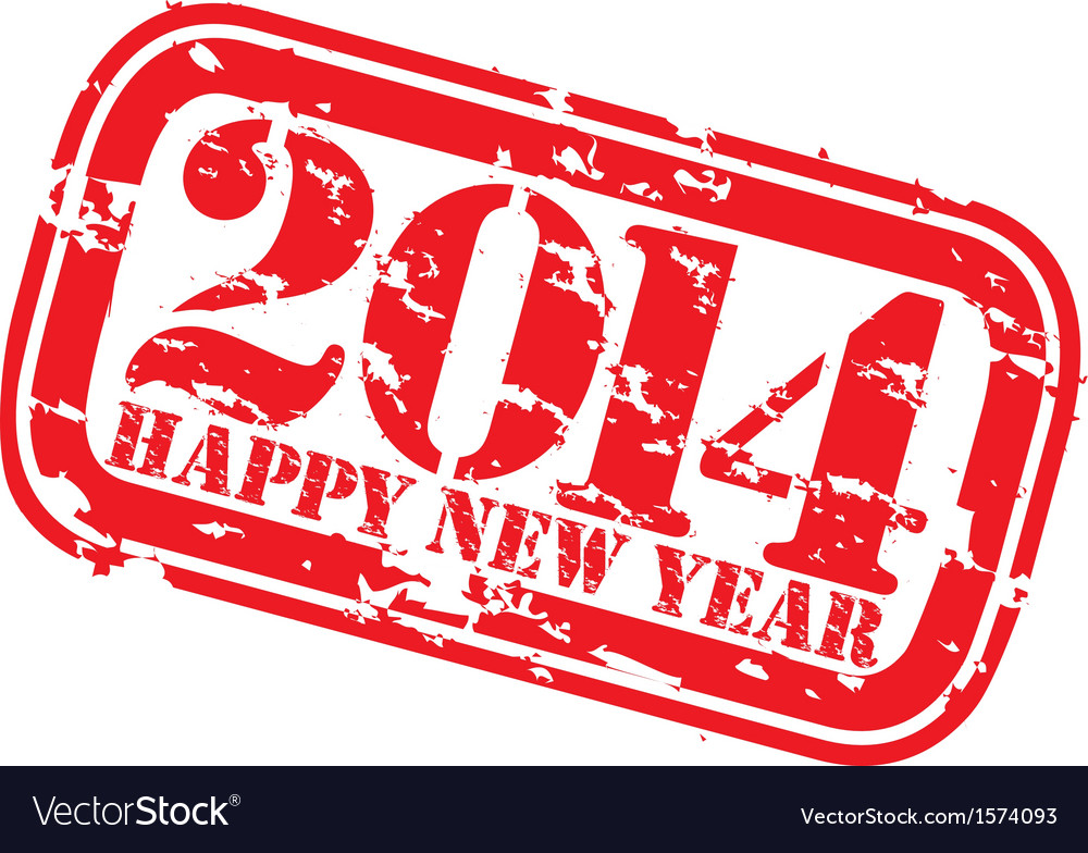 Grunge happy new 2014 year rubber stamp vector | Price: 1 Credit (USD $1)