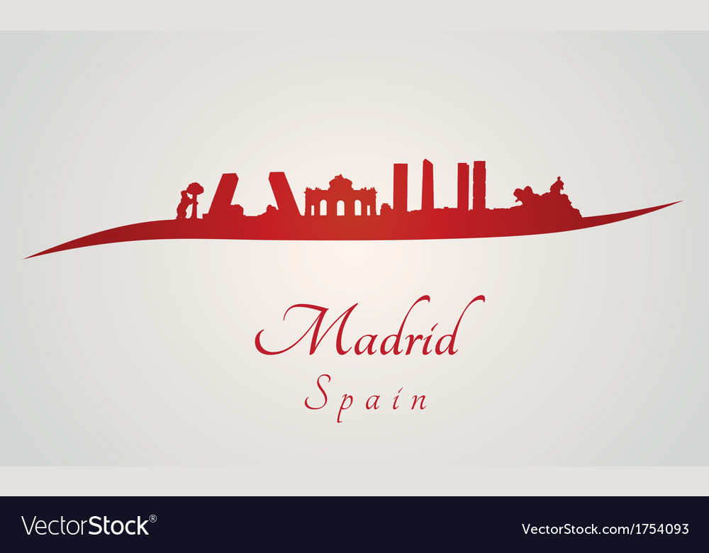 Madrid skyline in red vector | Price: 1 Credit (USD $1)