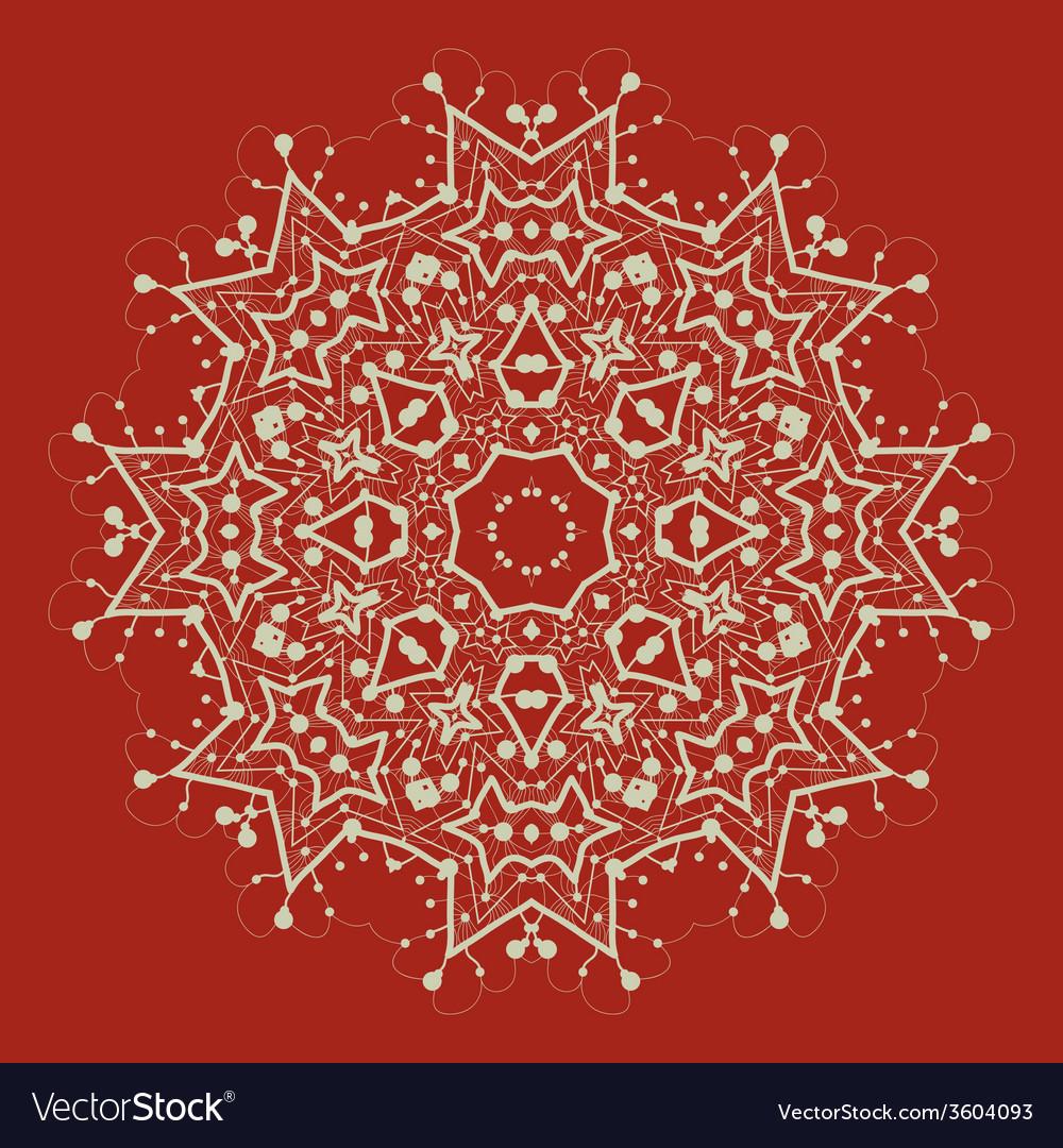 Mandala on red art vintage decorative elements vector | Price: 1 Credit (USD $1)