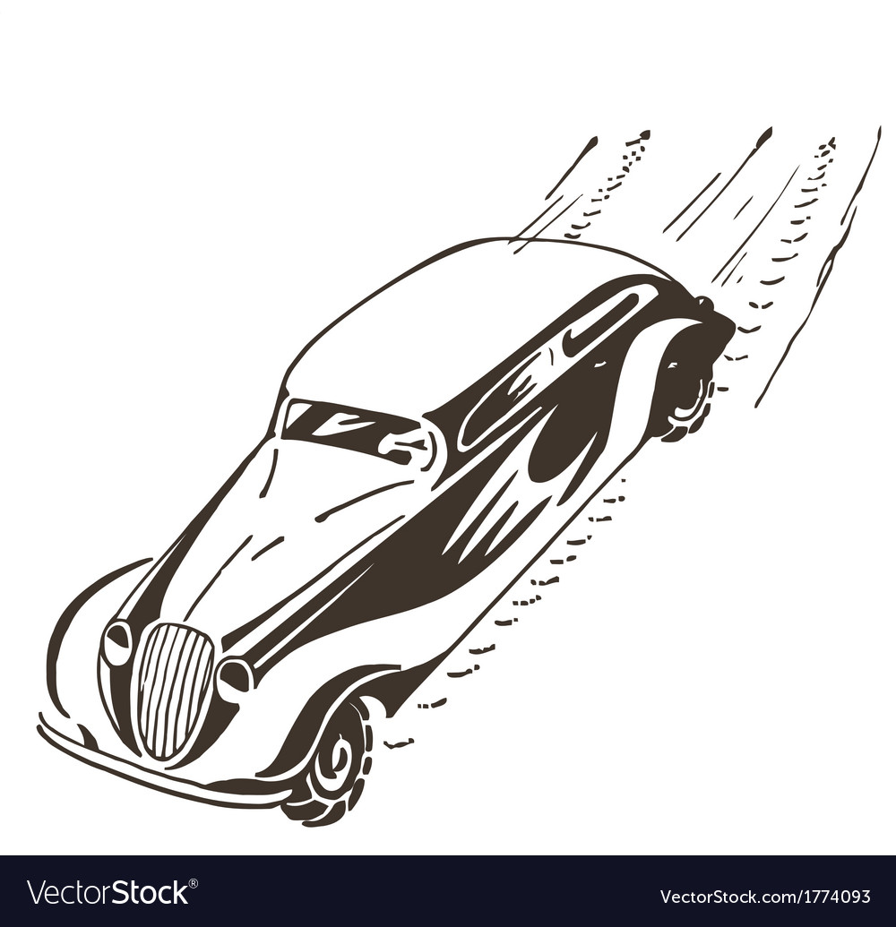 Old car racing at high speed vector | Price: 1 Credit (USD $1)