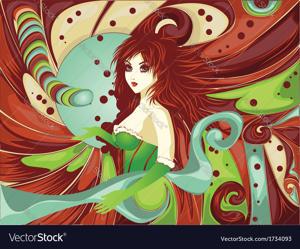 Red haired girl on candy background vector | Price: 3 Credit (USD $3)