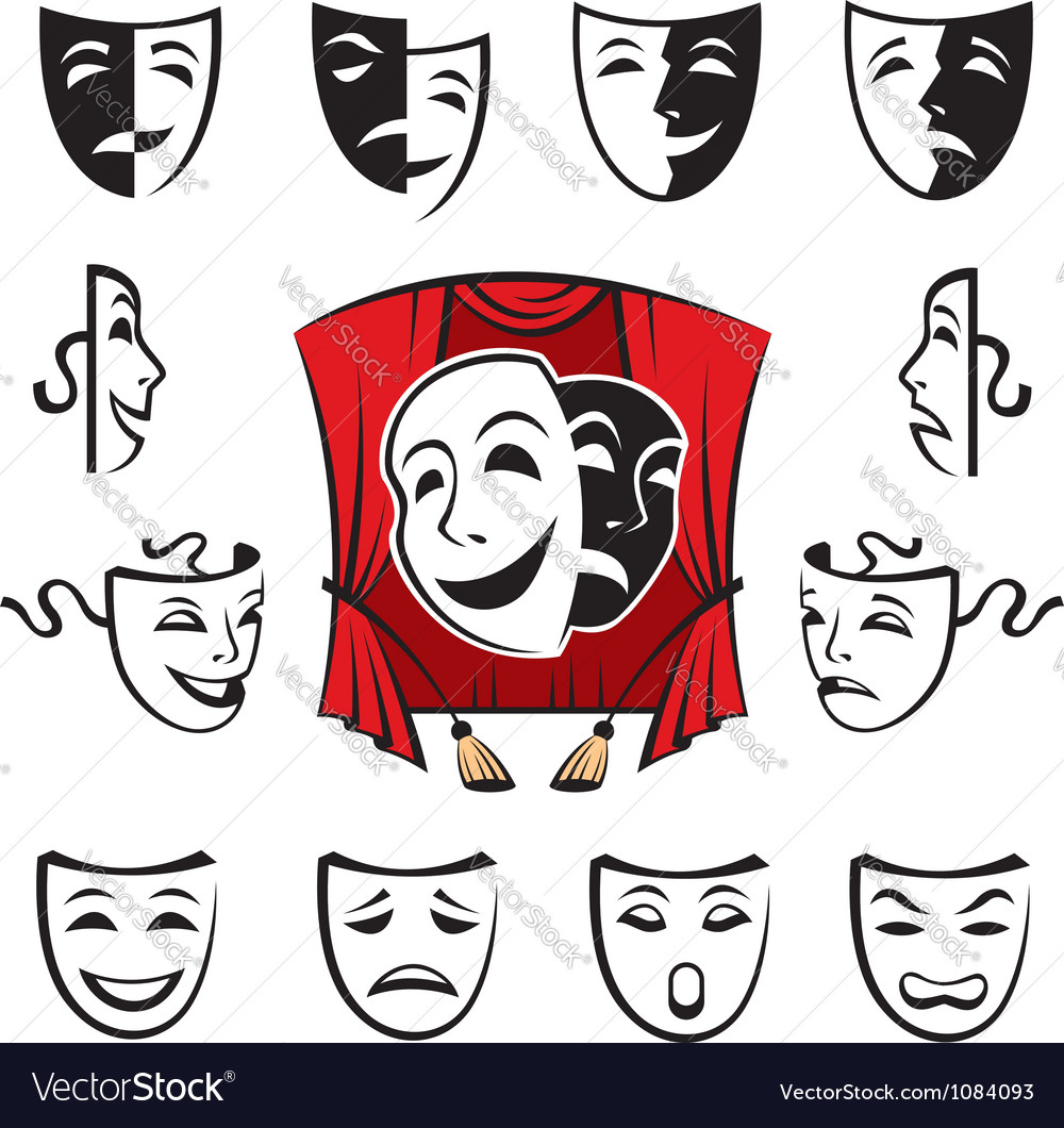 Set of theatrical masks vector | Price: 1 Credit (USD $1)