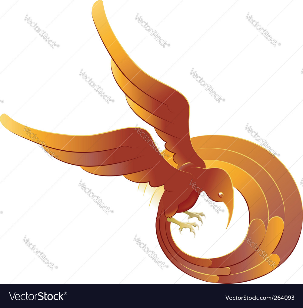 Swooping fiery bird vector | Price: 1 Credit (USD $1)
