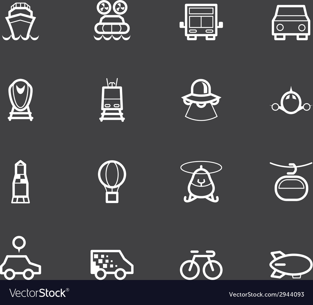 Vehicle element white icon set on black background vector | Price: 1 Credit (USD $1)
